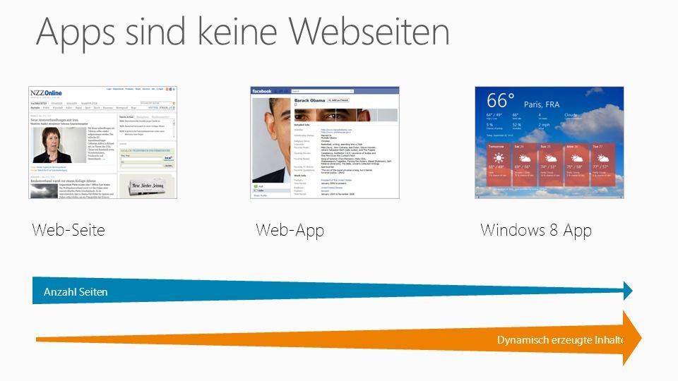 Web-SeiteWeb-AppWindows 8 App Dynamisch erzeugte Inhalte Anzahl Seiten
