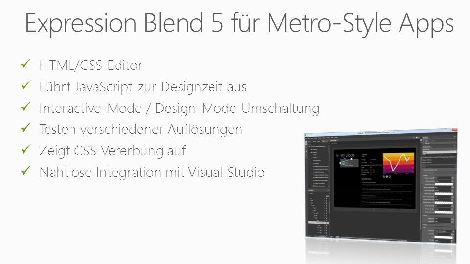 HTML/CSS Editor Führt JavaScript zur Designzeit aus Interactive-Mode / Design-Mode Umschaltung Testen verschiedener Auflösungen Zeigt CSS Vererbung auf Nahtlose Integration mit Visual Studio