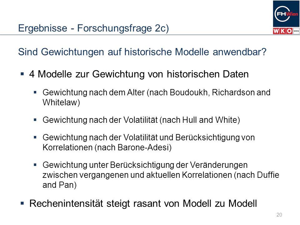 Ergebnisse - Forschungsfrage 2c) Sind Gewichtungen auf historische Modelle anwendbar? 4 Modelle zur Gewichtung von historischen Daten Gewichtung nach