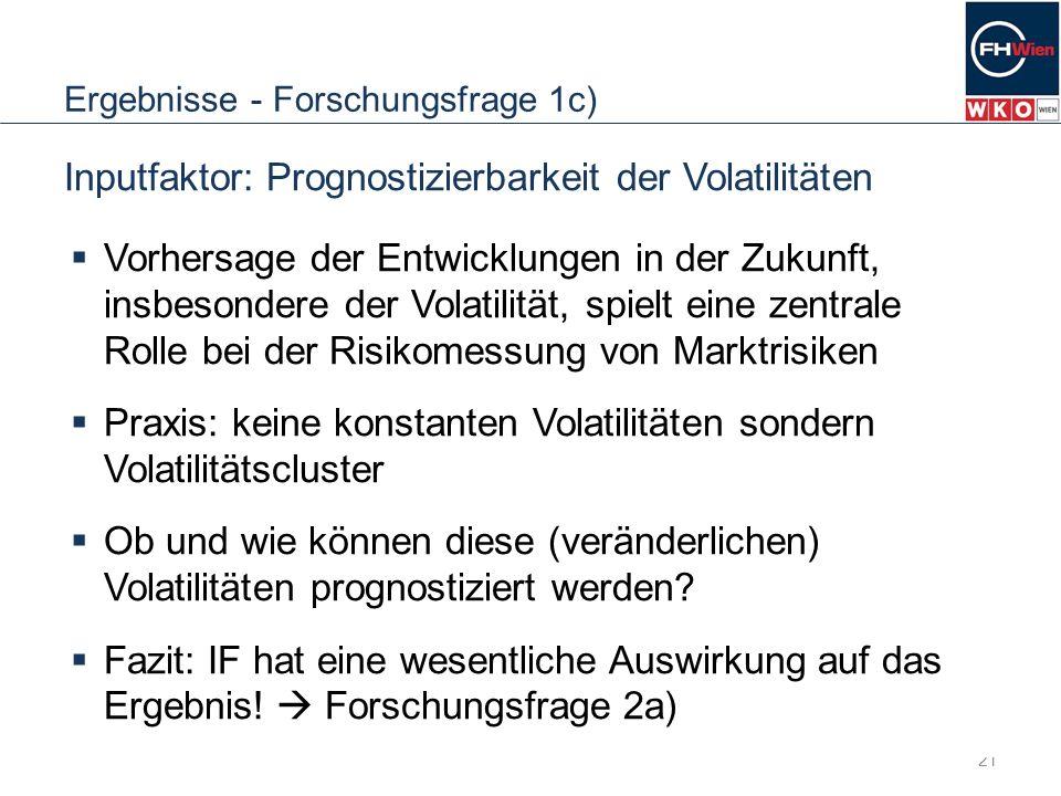 Ergebnisse - Forschungsfrage 1c) 21 Inputfaktor: Prognostizierbarkeit der Volatilitäten Vorhersage der Entwicklungen in der Zukunft, insbesondere der