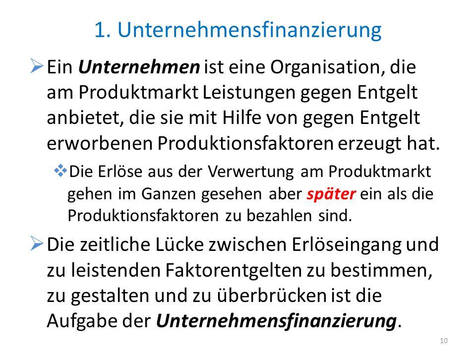 1. Unternehmensfinanzierung Ein Unternehmen ist eine Organisation, die am Produktmarkt Leistungen gegen Entgelt anbietet, die sie mit Hilfe von gegen