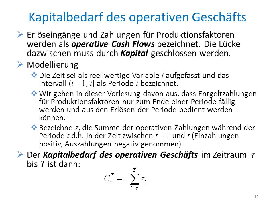 Kapitalbedarf des operativen Geschäfts Erlöseingänge und Zahlungen für Produktionsfaktoren werden als operative Cash Flows bezeichnet. Die Lücke dazwi