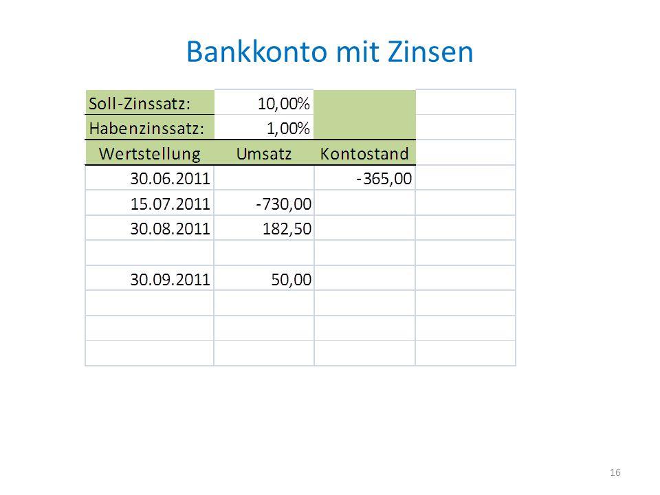 Bankkonto mit Zinsen 16
