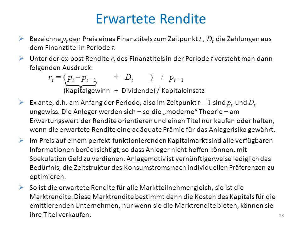 Erwartete Rendite Bezeichne p t den Preis eines Finanztitels zum Zeitpunkt t, D t die Zahlungen aus dem Finanztitel in Periode t.