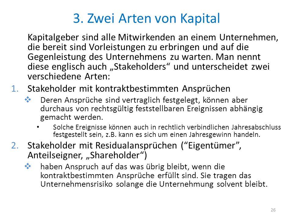 3. Zwei Arten von Kapital Kapitalgeber sind alle Mitwirkenden an einem Unternehmen, die bereit sind Vorleistungen zu erbringen und auf die Gegenleistu