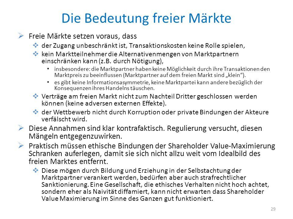 Die Bedeutung freier Märkte Freie Märkte setzen voraus, dass der Zugang unbeschränkt ist, Transaktionskosten keine Rolle spielen, kein Marktteilnehmer die Alternativenmengen von Marktpartnern einschränken kann (z.B.