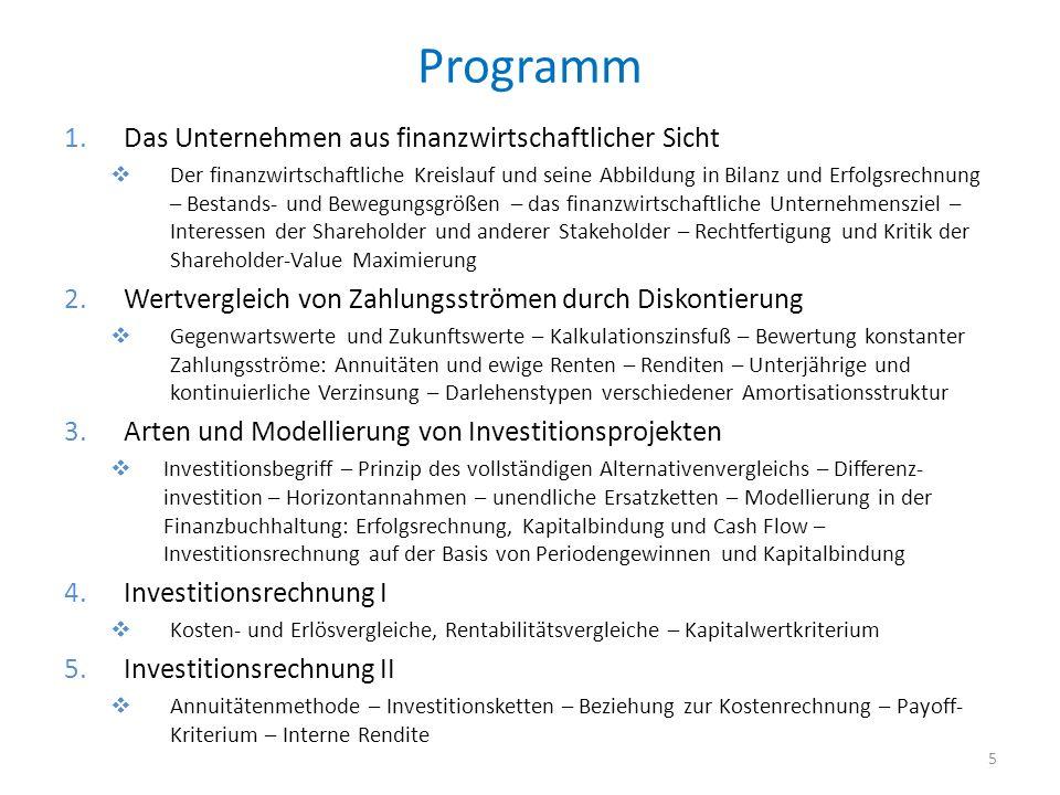 Programm 1.Das Unternehmen aus finanzwirtschaftlicher Sicht Der finanzwirtschaftliche Kreislauf und seine Abbildung in Bilanz und Erfolgsrechnung – Be