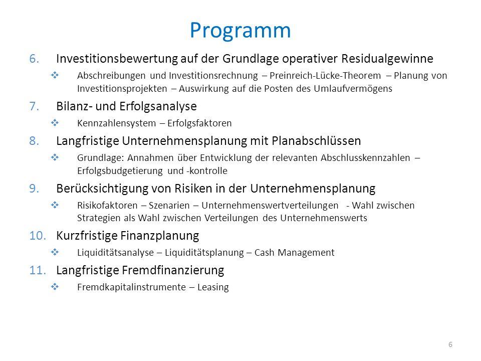 Programm 6.Investitionsbewertung auf der Grundlage operativer Residualgewinne Abschreibungen und Investitionsrechnung – Preinreich-Lücke-Theorem – Pla