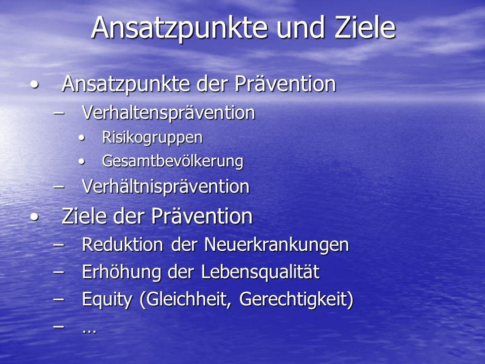 Ansatzpunkte der PräventionAnsatzpunkte der Prävention –Verhaltensprävention RisikogruppenRisikogruppen GesamtbevölkerungGesamtbevölkerung –Verhältnisprävention Ziele der PräventionZiele der Prävention –Reduktion der Neuerkrankungen –Erhöhung der Lebensqualität –Equity (Gleichheit, Gerechtigkeit) –… Ansatzpunkte und Ziele