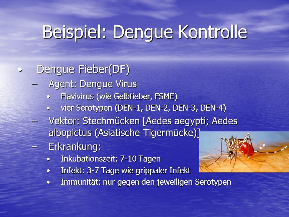 Beispiel: Dengue Kontrolle Dengue Fieber(DF)Dengue Fieber(DF) –Agent: Dengue Virus Flavivirus (wie Gelbfieber, FSME)Flavivirus (wie Gelbfieber, FSME) vier Serotypen (DEN-1, DEN-2, DEN-3, DEN-4)vier Serotypen (DEN-1, DEN-2, DEN-3, DEN-4) –Vektor: Stechmücken [Aedes aegypti; Aedes albopictus (Asiatische Tigermücke)] –Erkrankung: Inkubationszeit: 7-10 TagenInkubationszeit: 7-10 Tagen Infekt: 3-7 Tage wie grippaler InfektInfekt: 3-7 Tage wie grippaler Infekt Immunität: nur gegen den jeweiligen SerotypenImmunität: nur gegen den jeweiligen Serotypen