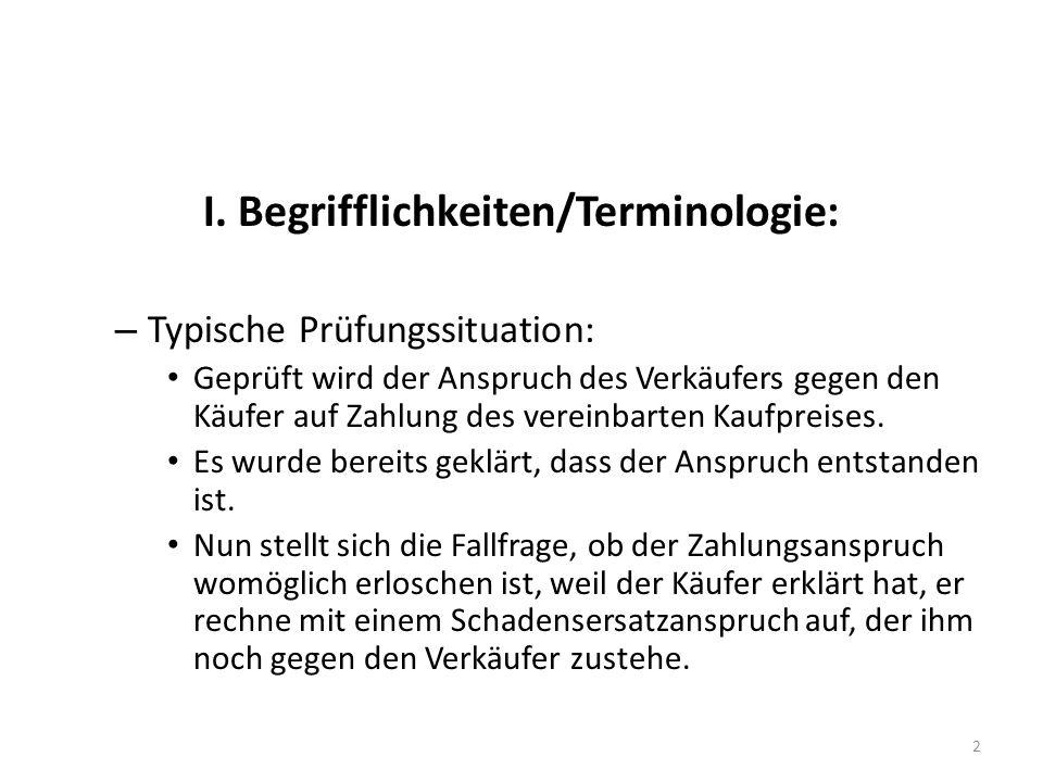 I. Begrifflichkeiten/Terminologie: – Typische Prüfungssituation: Geprüft wird der Anspruch des Verkäufers gegen den Käufer auf Zahlung des vereinbarte