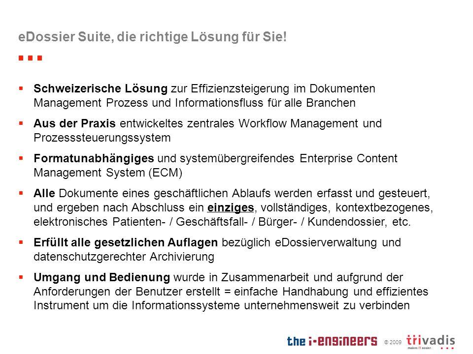 © 2009 eDossier Suite, die richtige Lösung für Sie! Schweizerische Lösung zur Effizienzsteigerung im Dokumenten Management Prozess und Informationsflu