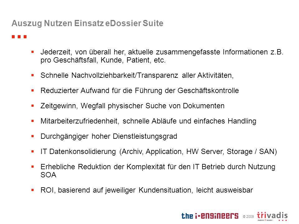 © 2009 Auszug Nutzen Einsatz eDossier Suite Jederzeit, von überall her, aktuelle zusammengefasste Informationen z.B. pro Geschäftsfall, Kunde, Patient