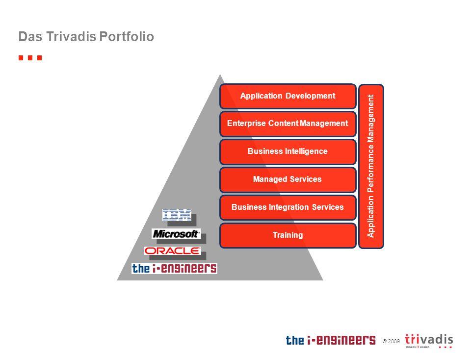 © 2009 Das Trivadis Portfolio Application DevelopmentEnterprise Content ManagementBusiness IntelligenceManaged ServicesBusiness Integration ServicesTr