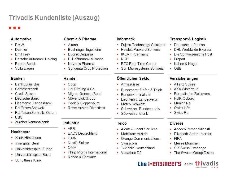 © 2009 Trivadis Kundenliste (Auszug) Handel Coop Lidl Stiftung & Co. Migros-Genoss.-Bund Mövenpick Group Peek & Cloppenburg Rewe Austria Dienstleist.