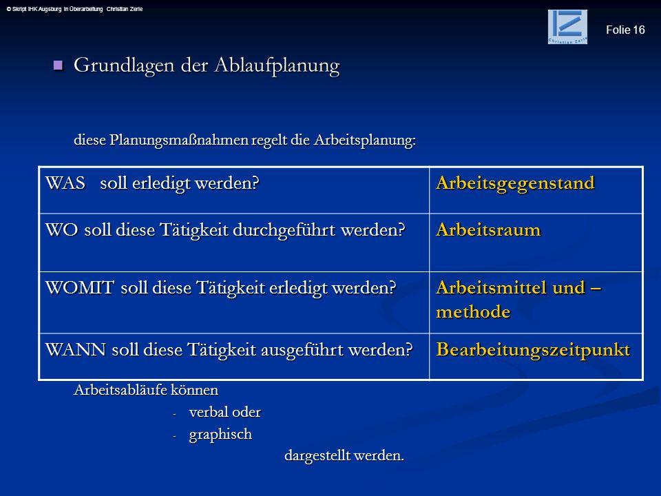 Folie 16 © Skript IHK Augsburg in Überarbeitung Christian Zerle Grundlagen der Ablaufplanung Grundlagen der Ablaufplanung WAS soll erledigt werden? Ar