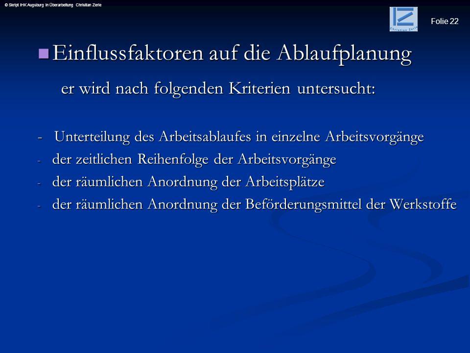 Folie 22 © Skript IHK Augsburg in Überarbeitung Christian Zerle Einflussfaktoren auf die Ablaufplanung Einflussfaktoren auf die Ablaufplanung er wird