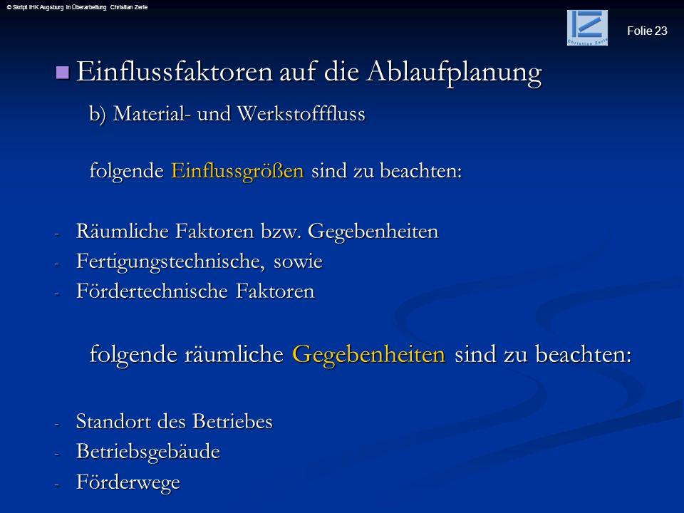 Folie 23 © Skript IHK Augsburg in Überarbeitung Christian Zerle Einflussfaktoren auf die Ablaufplanung Einflussfaktoren auf die Ablaufplanung b) Mater
