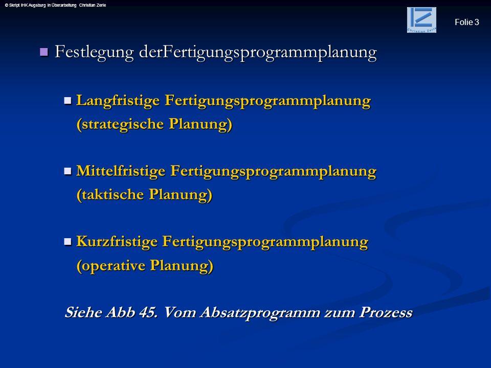 Folie 3 © Skript IHK Augsburg in Überarbeitung Christian Zerle Festlegung derFertigungsprogrammplanung Festlegung derFertigungsprogrammplanung Langfri