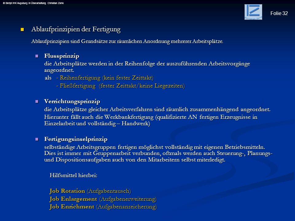 Folie 32 © Skript IHK Augsburg in Überarbeitung Christian Zerle Ablaufprinzipien der Fertigung Ablaufprinzipien der Fertigung Ablaufprinzipien sind Gr