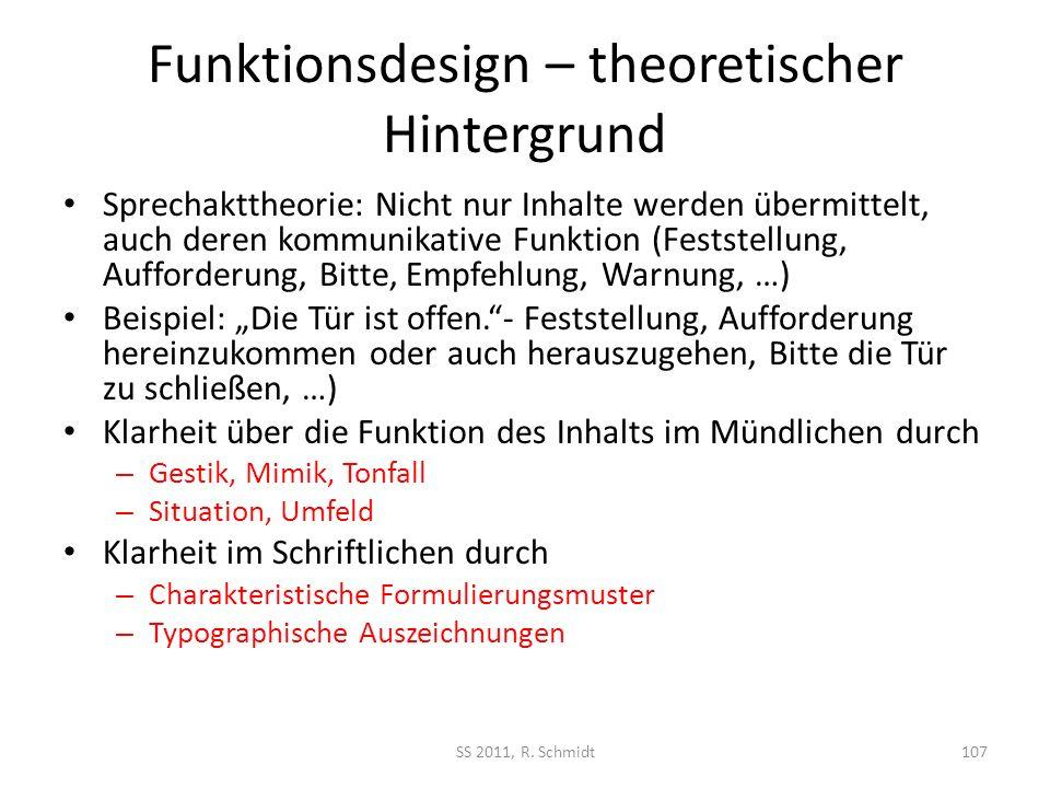 Funktionsdesign – theoretischer Hintergrund Sprechakttheorie: Nicht nur Inhalte werden übermittelt, auch deren kommunikative Funktion (Feststellung, A