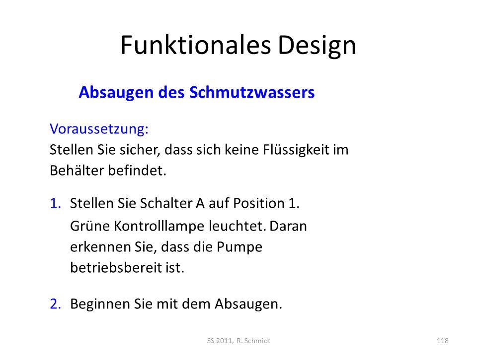 Funktionales Design SS 2011, R. Schmidt118 1.Stellen Sie Schalter A auf Position 1. Grüne Kontrolllampe leuchtet. Daran erkennen Sie, dass die Pumpe b