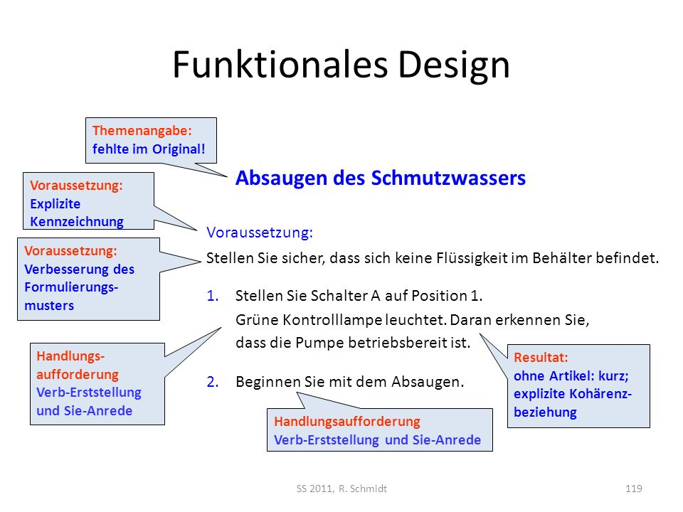 Funktionales Design SS 2011, R. Schmidt119 1.Stellen Sie Schalter A auf Position 1. Grüne Kontrolllampe leuchtet. Daran erkennen Sie, dass die Pumpe b