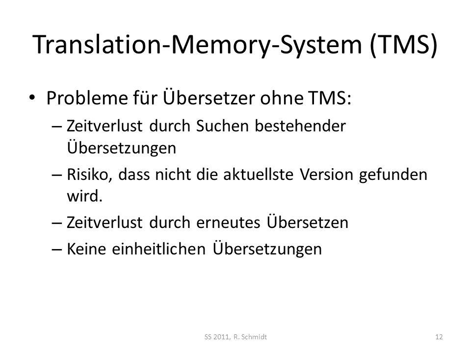 Translation-Memory-System (TMS) Probleme für Übersetzer ohne TMS: – Zeitverlust durch Suchen bestehender Übersetzungen – Risiko, dass nicht die aktuel