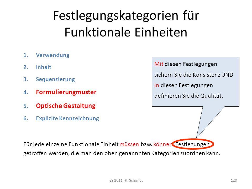 Festlegungskategorien für Funktionale Einheiten SS 2011, R. Schmidt120 Für jede einzelne Funktionale Einheit müssen bzw. können Festlegungen getroffen