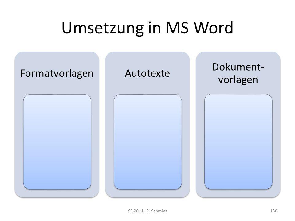 Umsetzung in MS Word FormatvorlagenAutotexte Dokument- vorlagen SS 2011, R. Schmidt136