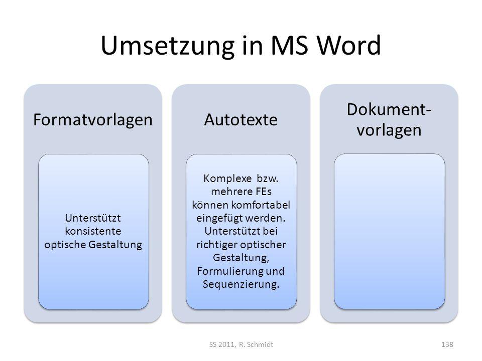 Umsetzung in MS Word Formatvorlagen Unterstützt konsistente optische Gestaltung Autotexte Komplexe bzw. mehrere FEs können komfortabel eingefügt werde