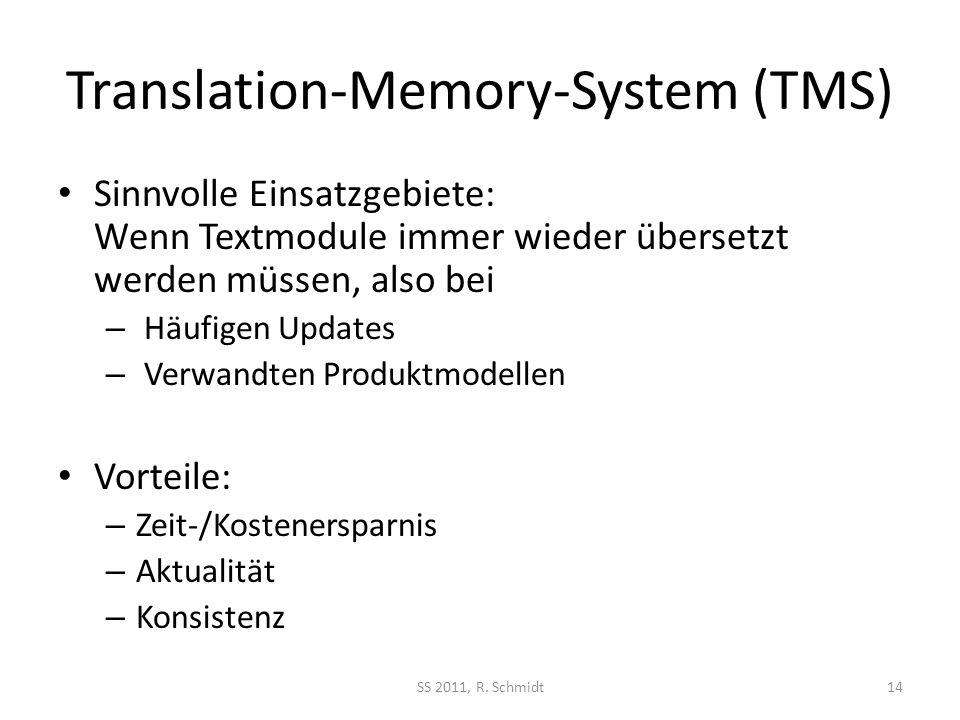Translation-Memory-System (TMS) Sinnvolle Einsatzgebiete: Wenn Textmodule immer wieder übersetzt werden müssen, also bei – Häufigen Updates – Verwandt