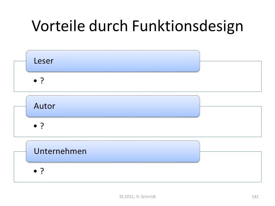 Vorteile durch Funktionsdesign ? Leser ? Autor ? Unternehmen SS 2011, R. Schmidt141