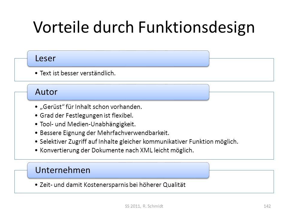 Vorteile durch Funktionsdesign Text ist besser verständlich. Leser Gerüst für Inhalt schon vorhanden. Grad der Festlegungen ist flexibel. Tool- und Me