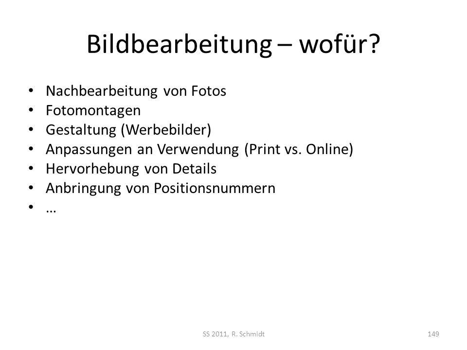 Bildbearbeitung – wofür? Nachbearbeitung von Fotos Fotomontagen Gestaltung (Werbebilder) Anpassungen an Verwendung (Print vs. Online) Hervorhebung von