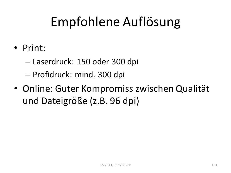 Empfohlene Auflösung Print: – Laserdruck: 150 oder 300 dpi – Profidruck: mind. 300 dpi Online: Guter Kompromiss zwischen Qualität und Dateigröße (z.B.