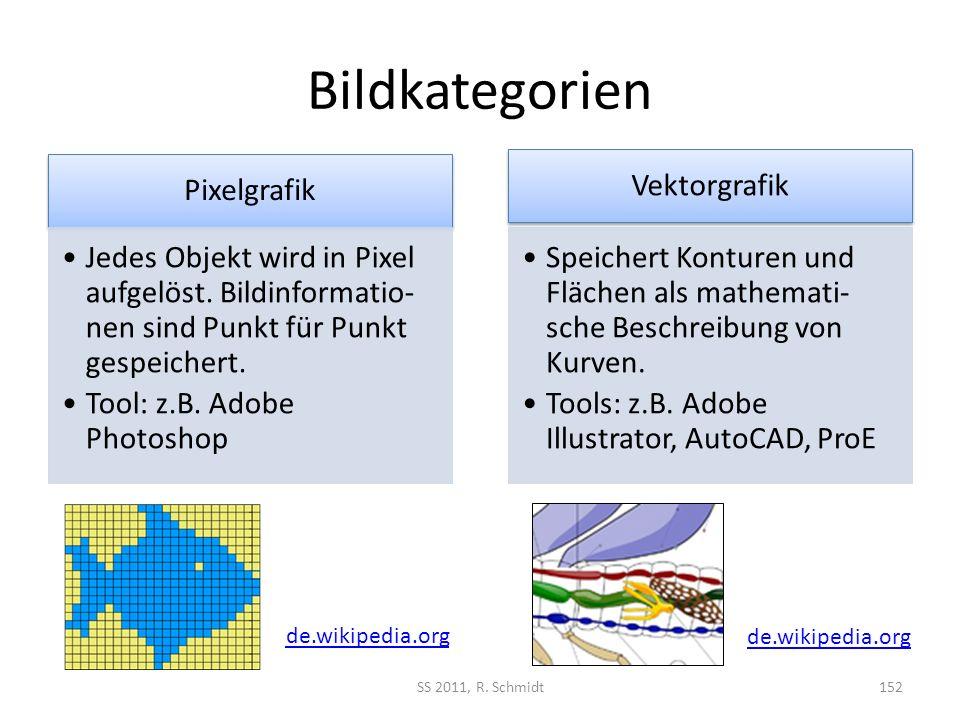 Bildkategorien Pixelgrafik Jedes Objekt wird in Pixel aufgelöst. Bildinformatio- nen sind Punkt für Punkt gespeichert. Tool: z.B. Adobe Photoshop Vekt