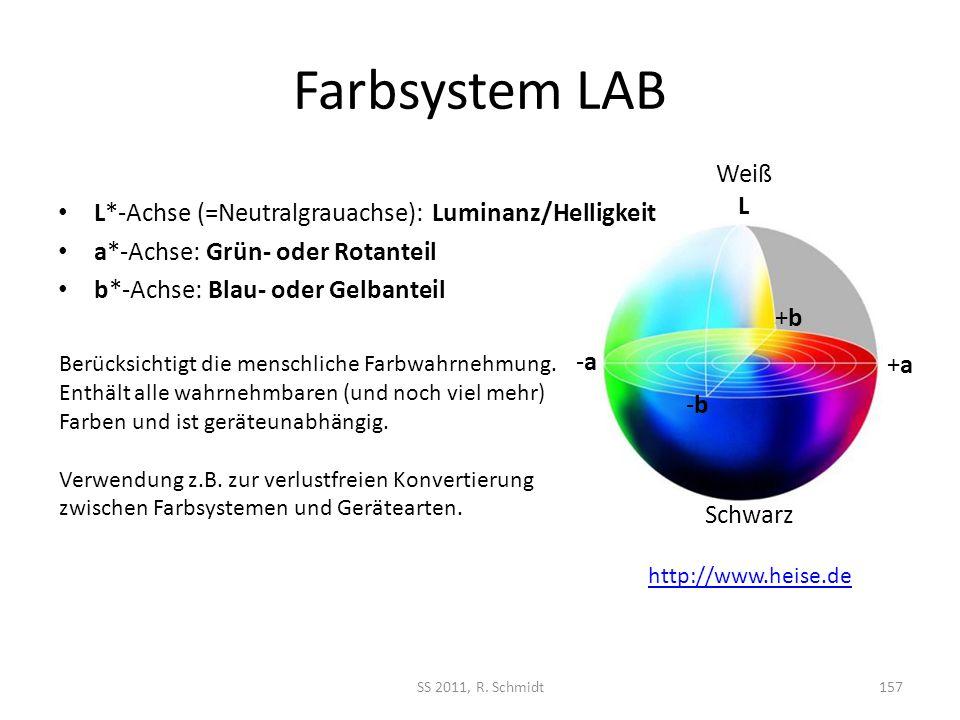 Farbsystem LAB SS 2011, R. Schmidt157 L*-Achse (=Neutralgrauachse): Luminanz/Helligkeit a*-Achse: Grün- oder Rotanteil b*-Achse: Blau- oder Gelbanteil