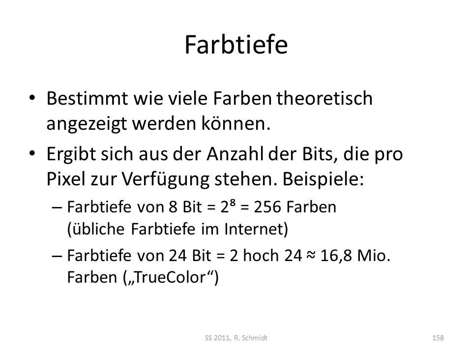 Farbtiefe Bestimmt wie viele Farben theoretisch angezeigt werden können. Ergibt sich aus der Anzahl der Bits, die pro Pixel zur Verfügung stehen. Beis