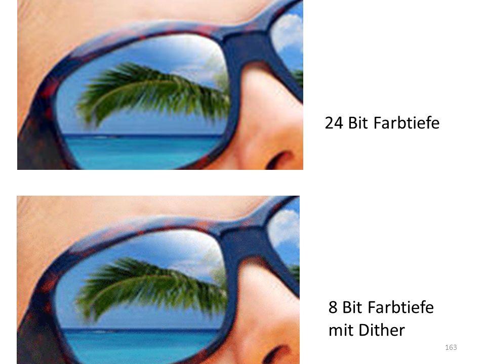 SS 2011, R. Schmidt163 24 Bit Farbtiefe 8 Bit Farbtiefe mit Dither