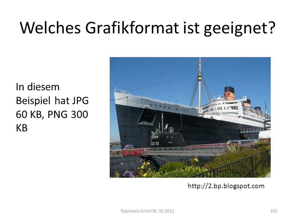 Welches Grafikformat ist geeignet? Raphaela Schmidt, SS 2011165 In diesem Beispiel hat JPG 60 KB, PNG 300 KB http://2.bp.blogspot.com