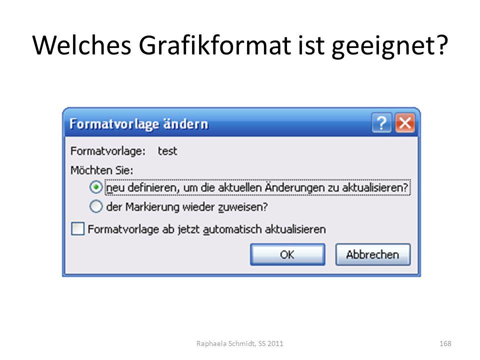 Welches Grafikformat ist geeignet? Raphaela Schmidt, SS 2011168