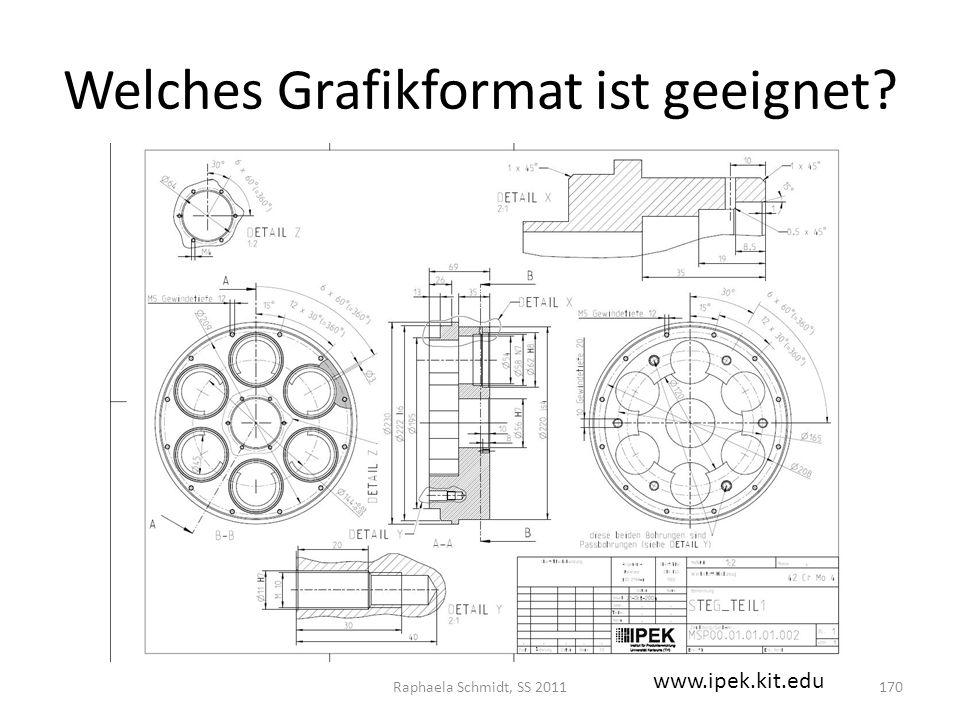 Welches Grafikformat ist geeignet? Raphaela Schmidt, SS 2011170 www.ipek.kit.edu