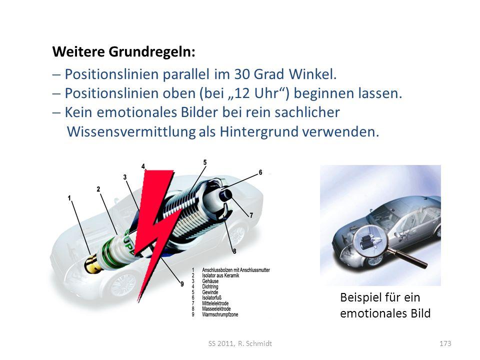 Beispiel für ein emotionales Bild SS 2011, R. Schmidt173 Weitere Grundregeln: Positionslinien parallel im 30 Grad Winkel. Positionslinien oben (bei 12