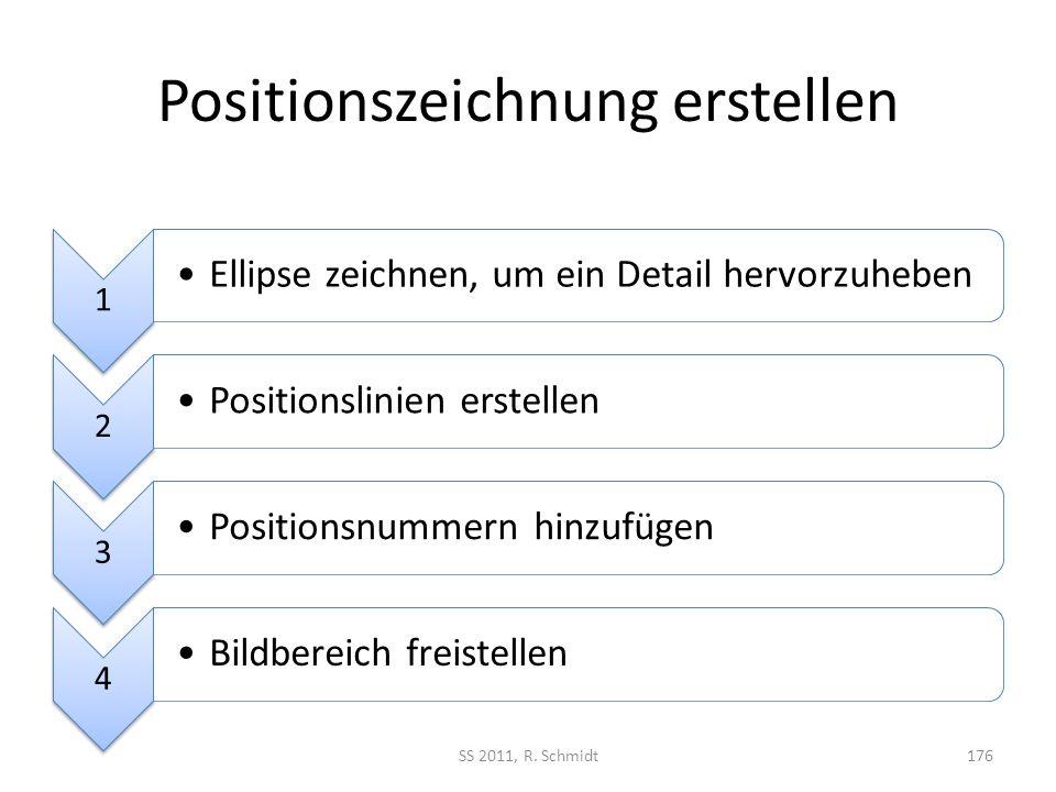 Positionszeichnung erstellen SS 2011, R. Schmidt176 1 Ellipse zeichnen, um ein Detail hervorzuheben 2 Positionslinien erstellen 3 Positionsnummern hin