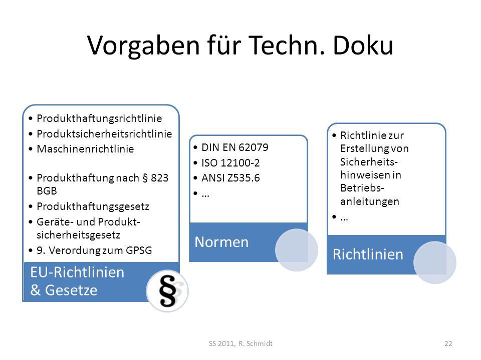 Vorgaben für Techn. Doku SS 2011, R. Schmidt22 Produkthaftungsrichtlinie Produktsicherheitsrichtlinie Maschinenrichtlinie Produkthaftung nach § 823 BG