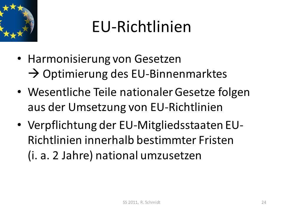 EU-Richtlinien Harmonisierung von Gesetzen Optimierung des EU-Binnenmarktes Wesentliche Teile nationaler Gesetze folgen aus der Umsetzung von EU-Richt