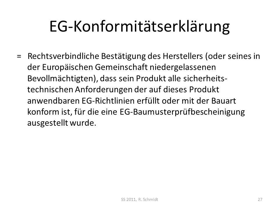 EG-Konformitätserklärung = Rechtsverbindliche Bestätigung des Herstellers (oder seines in der Europäischen Gemeinschaft niedergelassenen Bevollmächtig