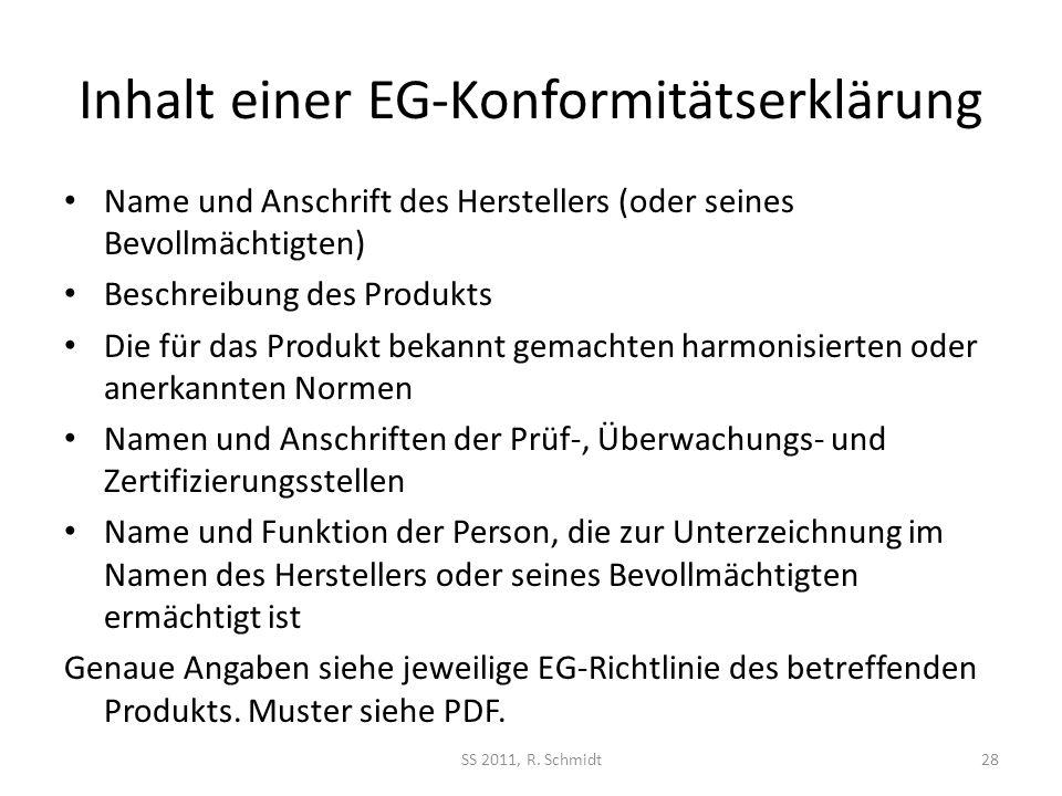 Inhalt einer EG-Konformitätserklärung Name und Anschrift des Herstellers (oder seines Bevollmächtigten) Beschreibung des Produkts Die für das Produkt