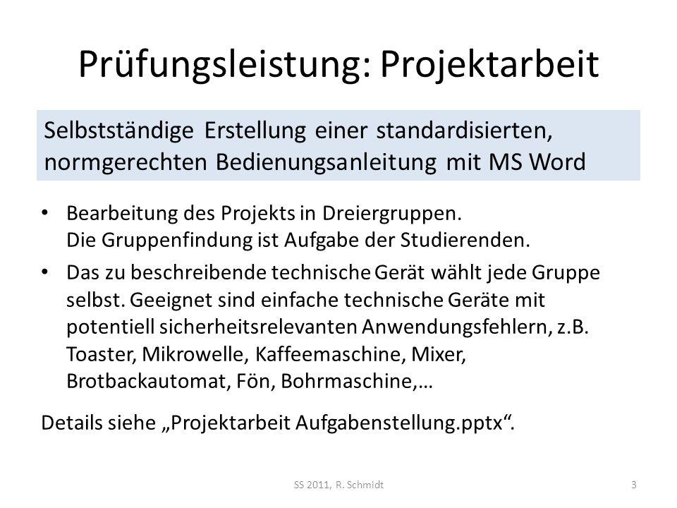 Prüfungsleistung: Projektarbeit SS 2011, R. Schmidt3 Bearbeitung des Projekts in Dreiergruppen. Die Gruppenfindung ist Aufgabe der Studierenden. Das z